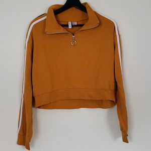 H&M Cropped Mustard Quarter Zip